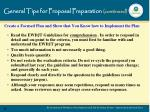 general tips for proposal preparation continued