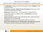 quick facts about office of compliance internal audit ocia