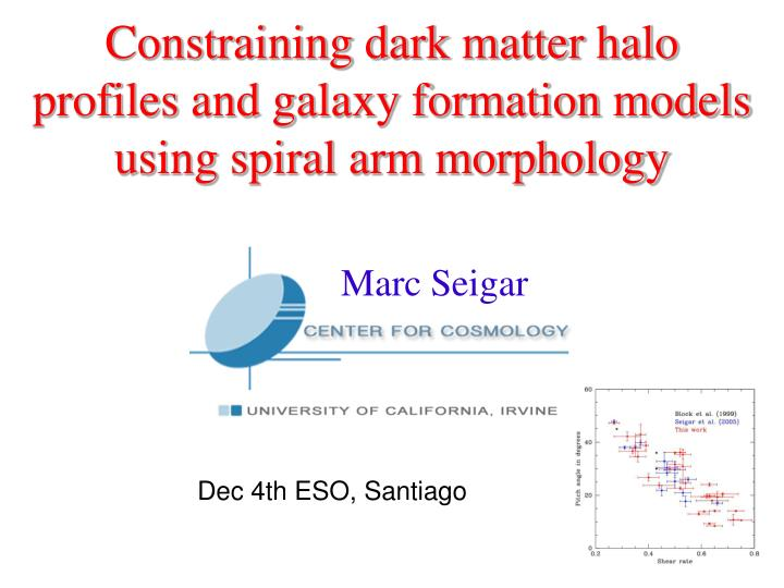 PPT - Constraining dark matter halo profiles and galaxy formation