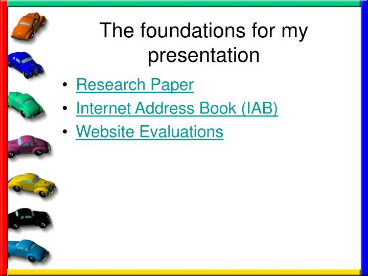 The foundations for my presentation