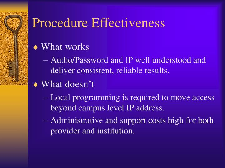 Procedure Effectiveness