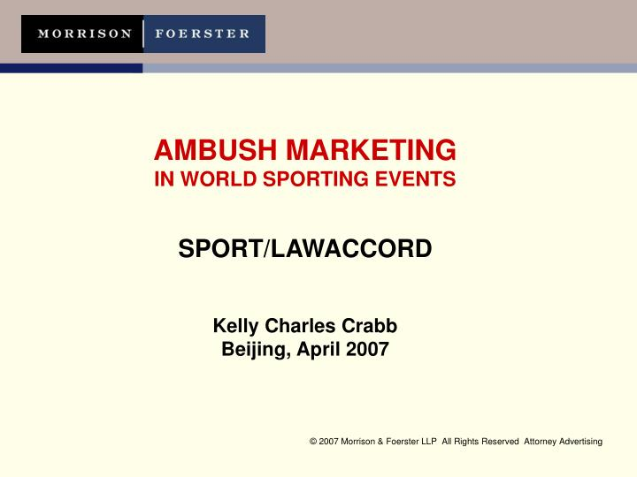 "ambush marketing a sport in itself media essay View essay - business in sports and what does the phrase ""ambush marketing at the same event kulula a south african budget airline also associated itself."