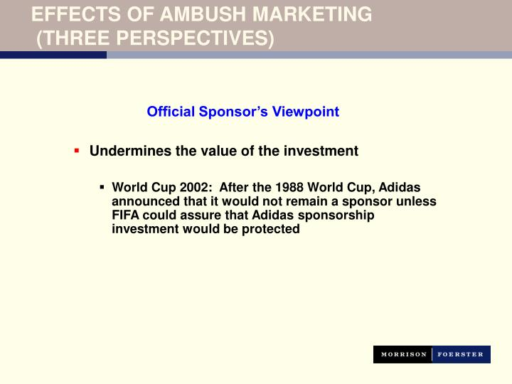 ambush marketing essay 1 Ambush marketing is a marketing technique which involves riding on the coattails of a major event or campaign without actually paying for.