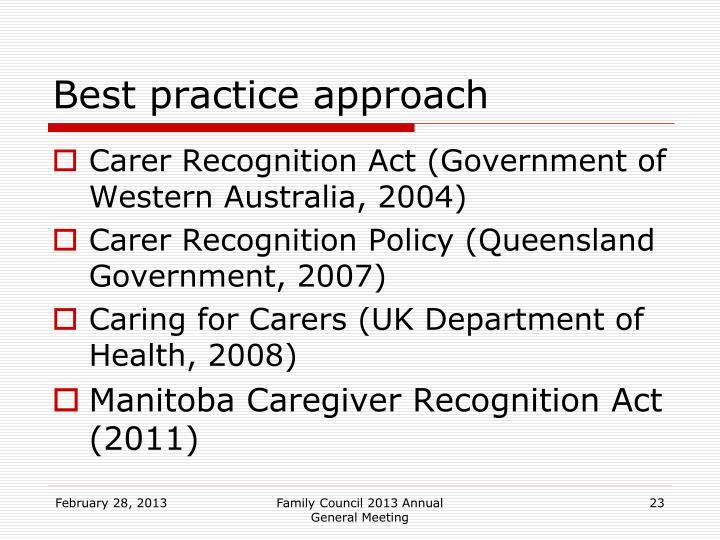 Best practice approach