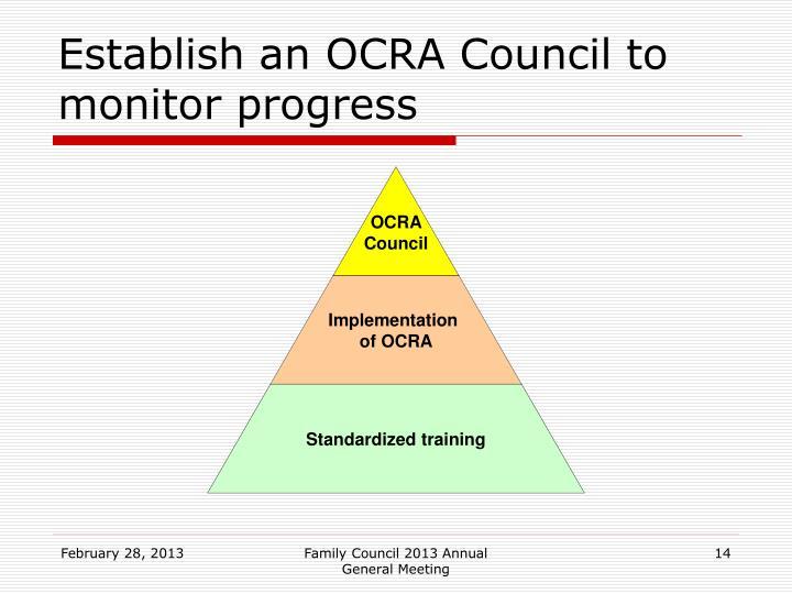 Establish an OCRA Council to monitor progress
