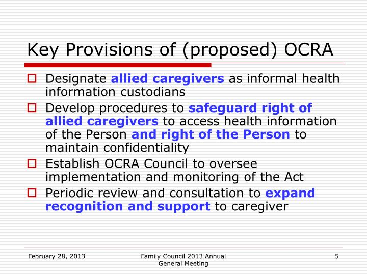 Key Provisions of (proposed) OCRA