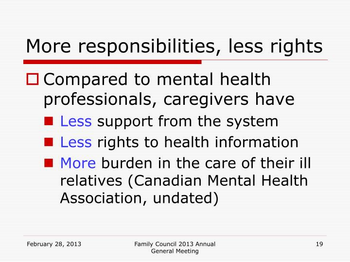 More responsibilities, less rights