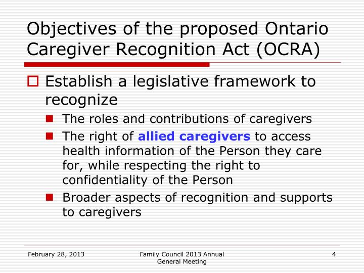 Objectives of the proposed Ontario Caregiver Recognition Act (OCRA)