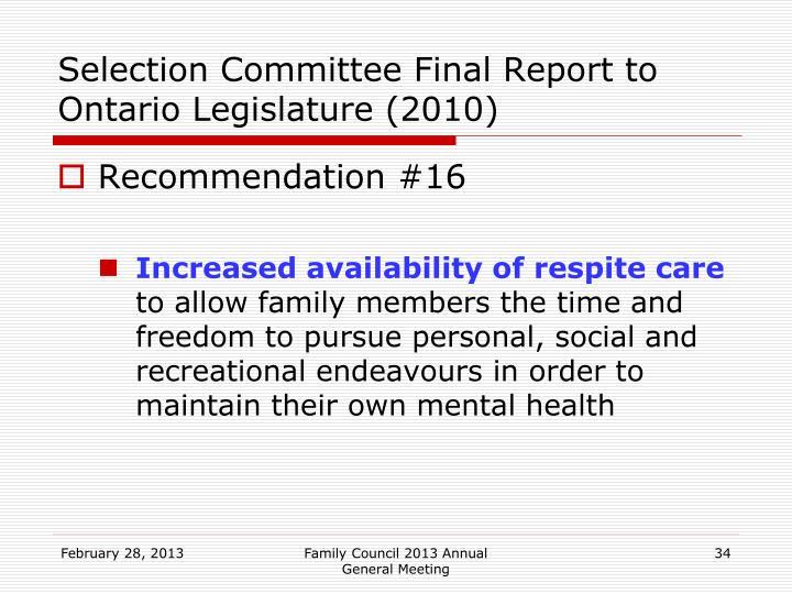 Selection Committee Final Report to Ontario Legislature (2010)