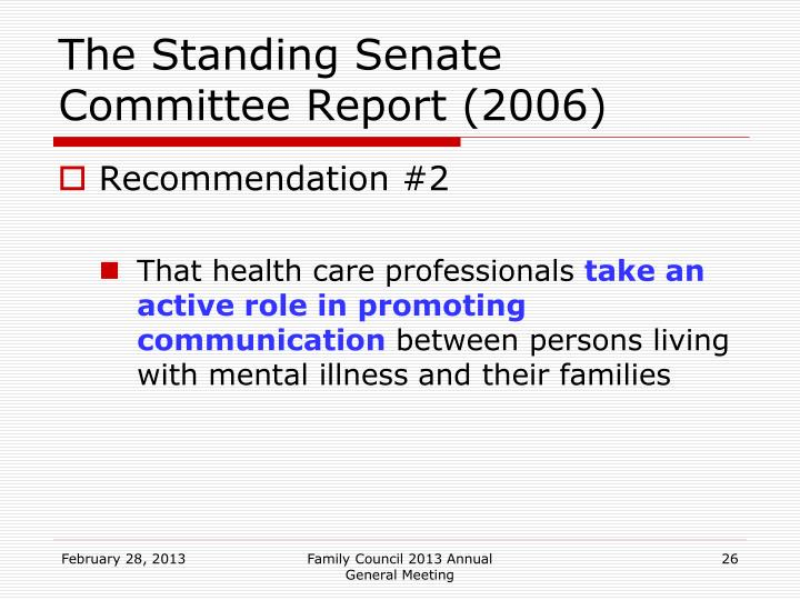 The Standing Senate Committee Report (2006)