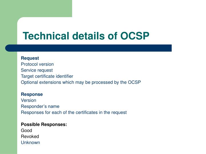 Technical details of OCSP