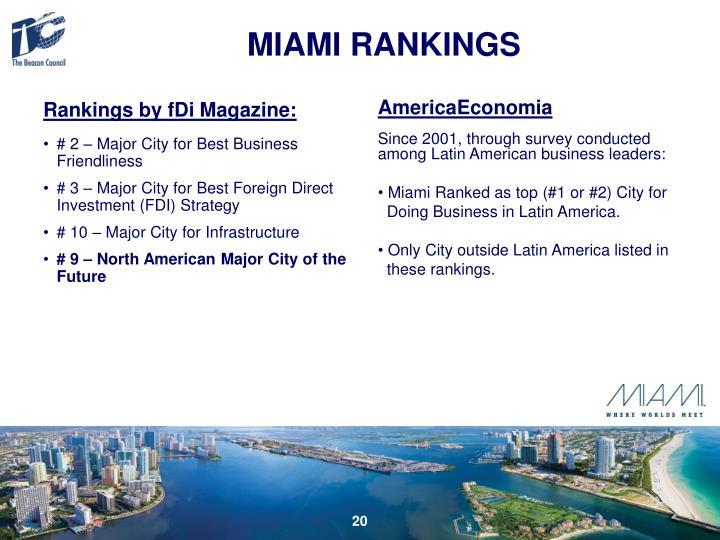 Rankings by fDi Magazine:
