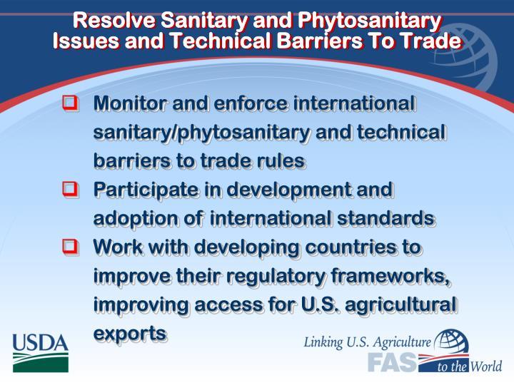 Resolve Sanitary and Phytosanitary