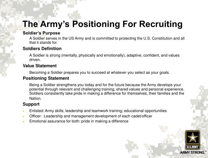 The Army's Positioning For Recruiting