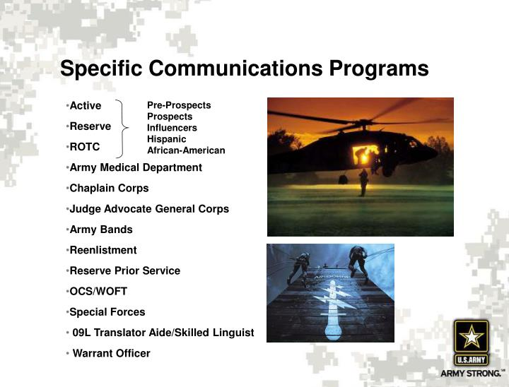Specific Communications Programs