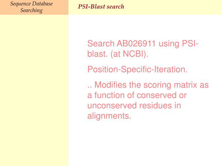 PSI-Blast search