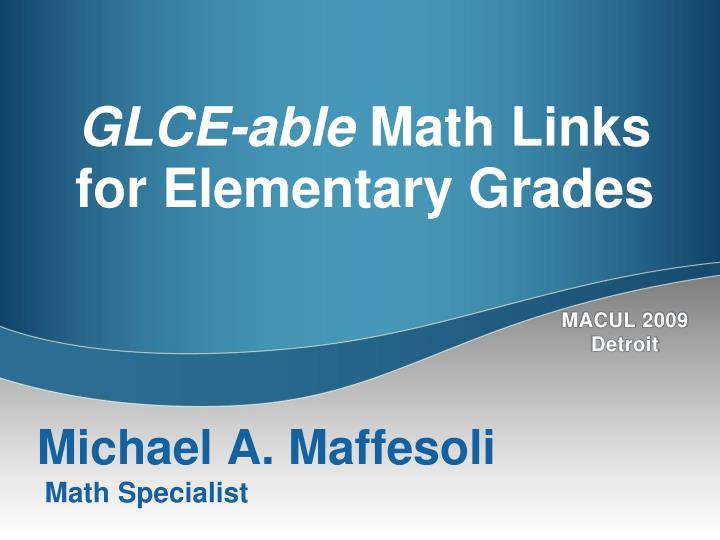 Glce able math links for elementary grades