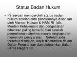 status badan hukum