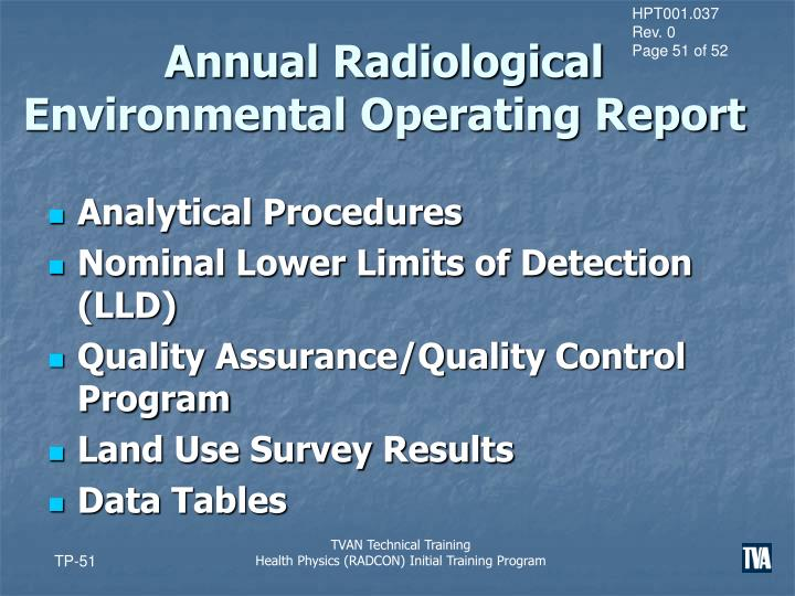 Annual Radiological Environmental Operating Report