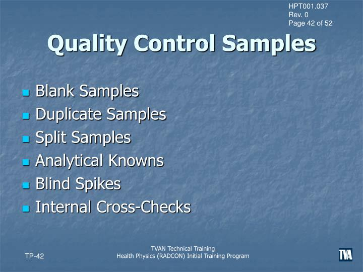Quality Control Samples