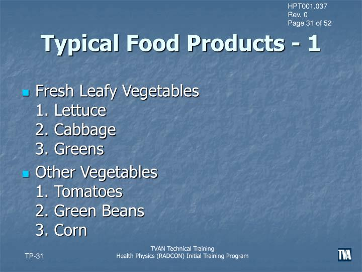 Typical Food Products - 1