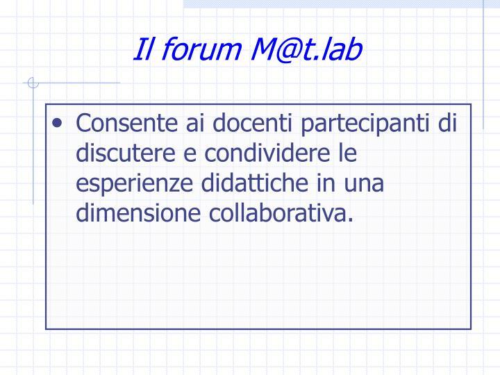 Il forum M@t.lab
