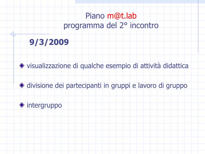 Piano m@t lab programma del 2 incontro