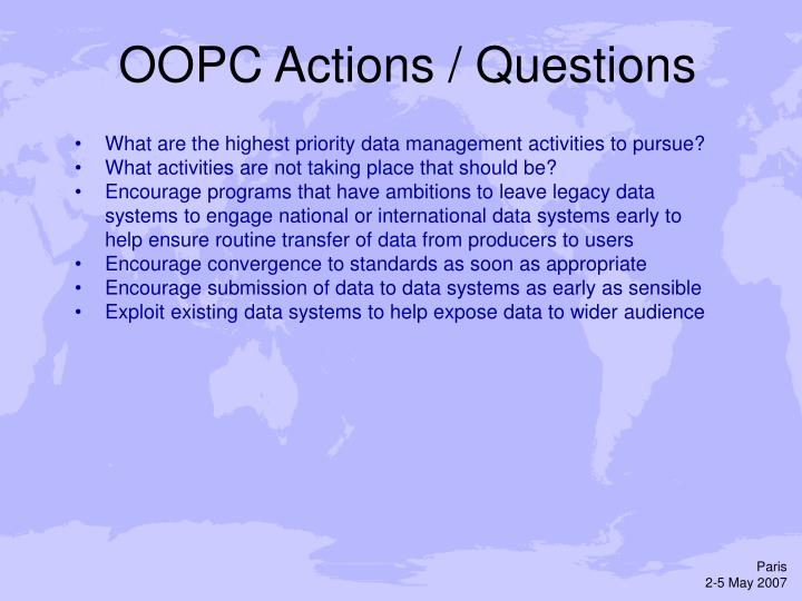 OOPC Actions / Questions