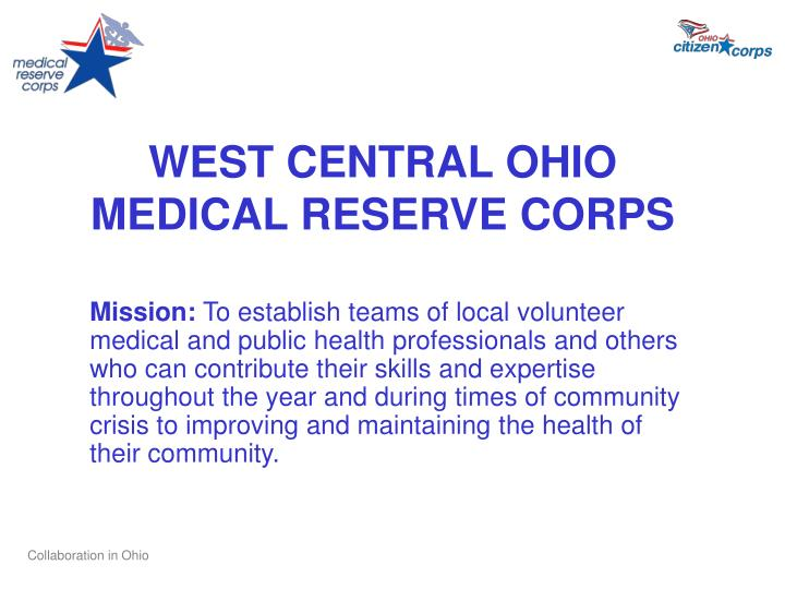 WEST CENTRAL OHIO MEDICAL RESERVE CORPS