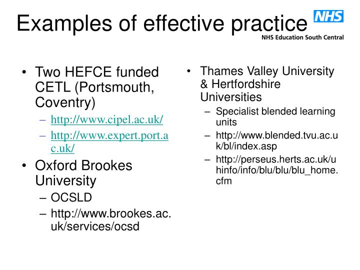 Two HEFCE funded CETL (Portsmouth, Coventry)