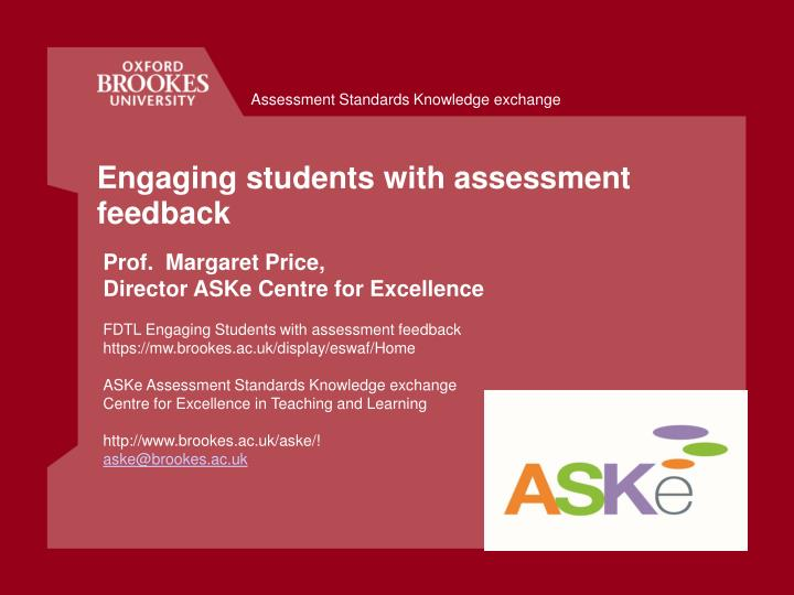 engaging students with assessment feedback n.
