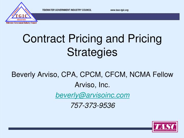 Contract pricing and pricing strategies