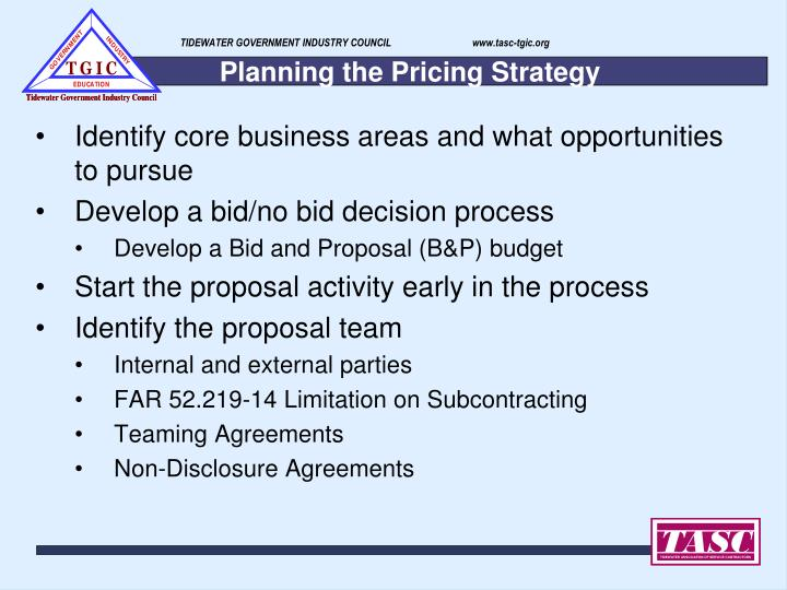Planning the pricing strategy