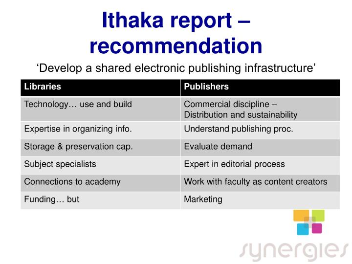 Ithaka report – recommendation