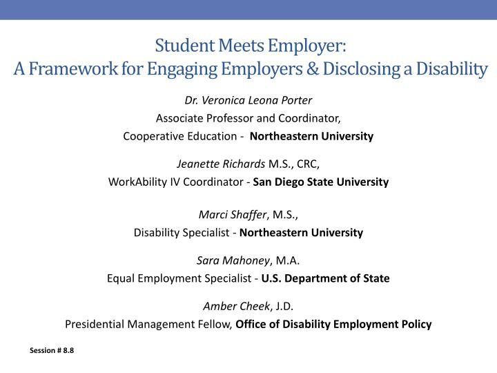 Student meets employer a framework for engaging employers disclosing a disability