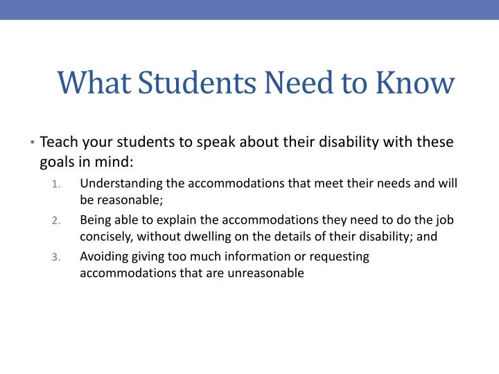 What Students Need to Know