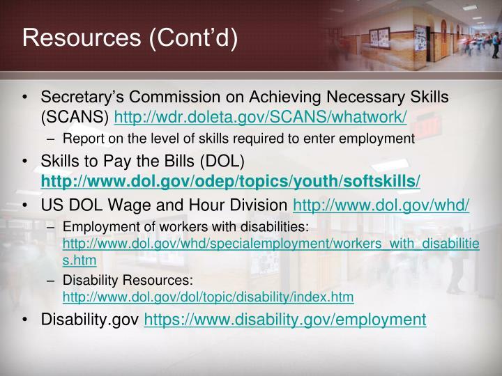 Resources (Cont'd)