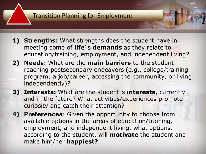 Transition Planning for Employment