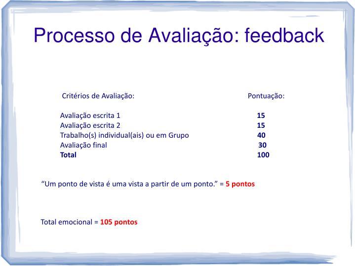 Processo de Avaliação: feedback