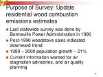 purpose of survey update residential wood combustion emissions estimates