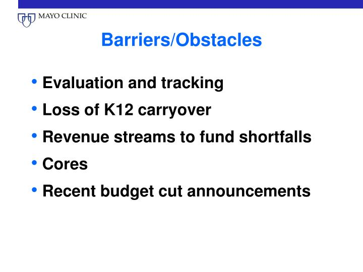 Barriers/Obstacles