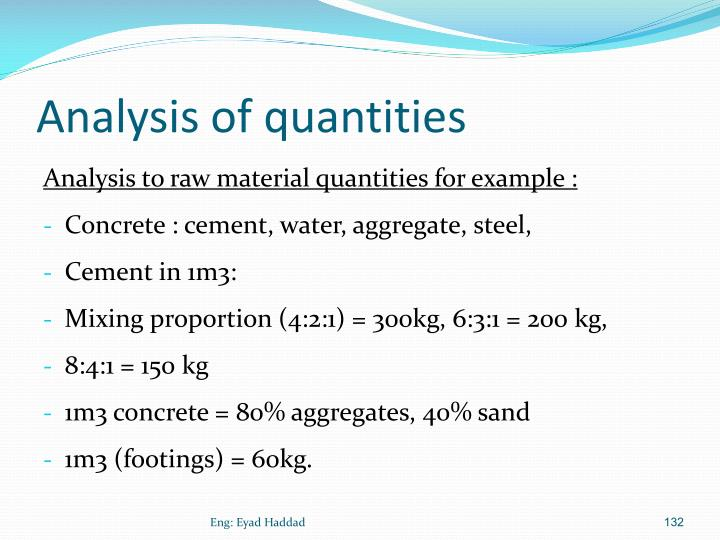 Analysis of quantities