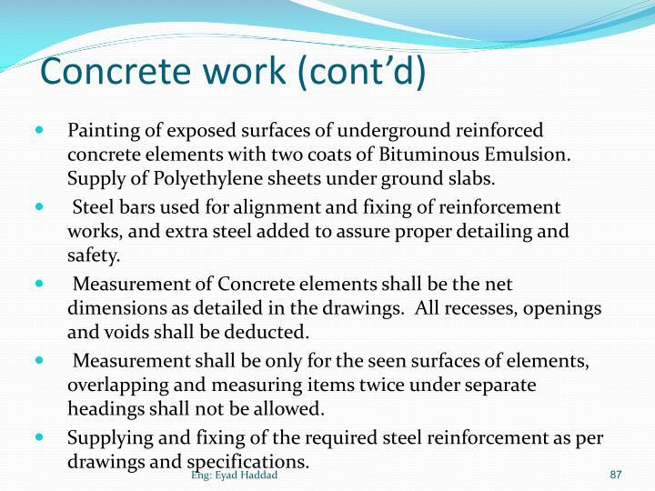 Concrete work (cont'd)