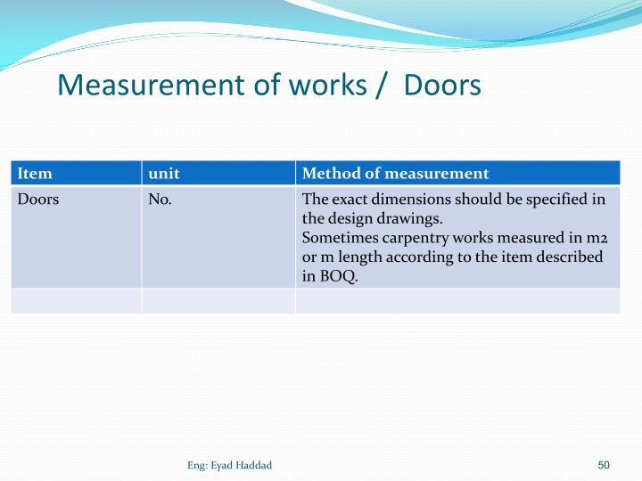 Measurement of works /  Doors