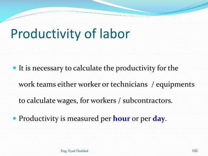 Productivity of labor