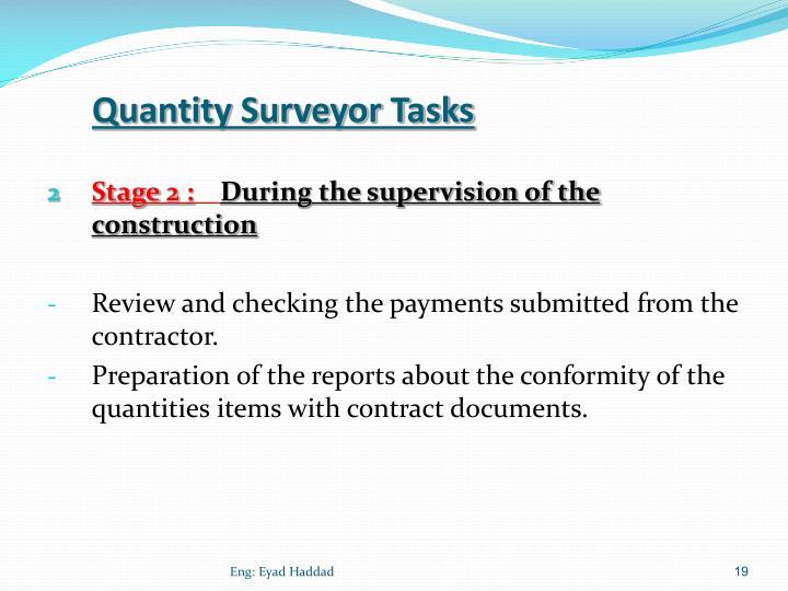 Quantity Surveyor Tasks