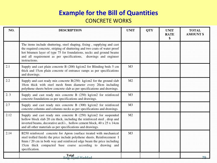Example for the Bill of Quantities