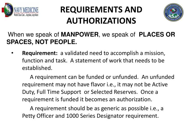 REQUIREMENTS AND AUTHORIZATIONS