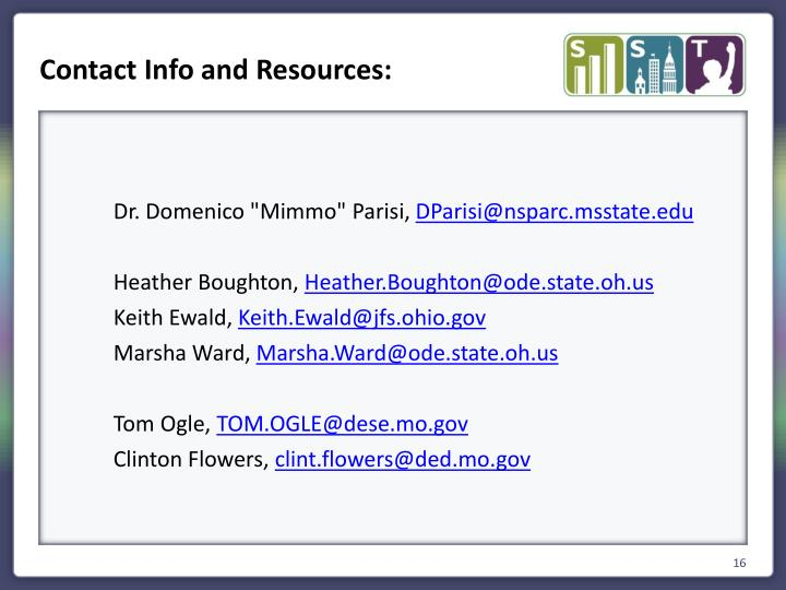 Contact Info and Resources: