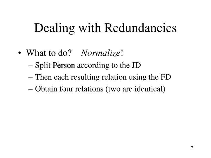 Dealing with Redundancies